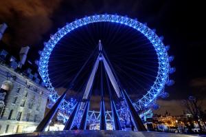 De London Eye bij avond