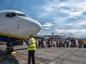 Boarden bij Ryanair op Bergamo airport